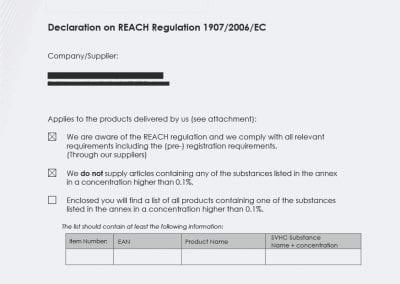 REACH Certifcate