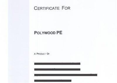 Polywood PE Certificate